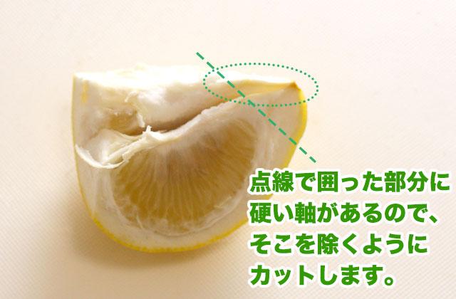 ヘタ側から中央の種に向かって伸びる硬い部分を切り落とす