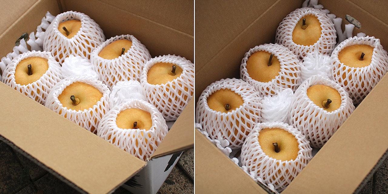約3kg×2箱の幸水を、1セットにしてお届けします