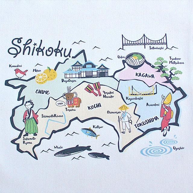 四国地図風・トートバッグ(絵柄アップ)